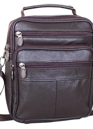 Кожаная мужская сумка вместительная барсетка через плечо 202 к...