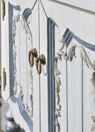 Тумба для ванной комнаты:  Флоренция 75  ivory old+ синяя патина