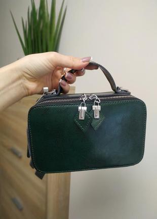 Кожаная сумка мини, зеленая