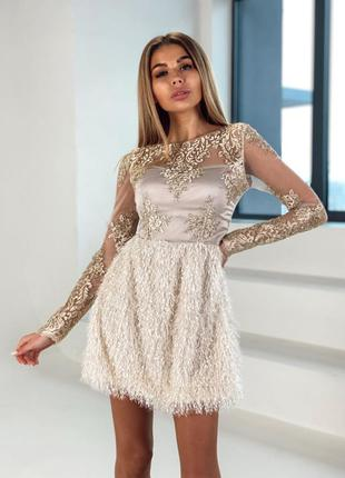 Платье шелк гипюр кружево бахрома сетка