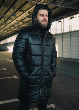 Пуховик мужской с капюшоном, топовая зимняя парка до -30°, черная