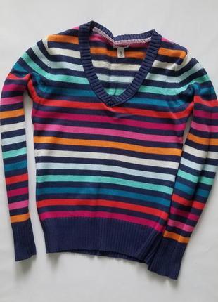 Яркий свитер old navy в полоску на девочку подростка. хлопок.