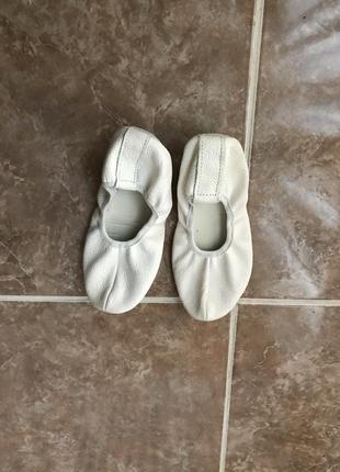 Кожаные белые детские чешки 19 см натуральная кожа балетки для...