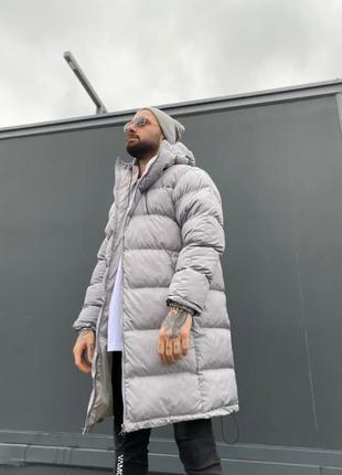Мужская очень теплая зимняя куртка серого цвета  2020
