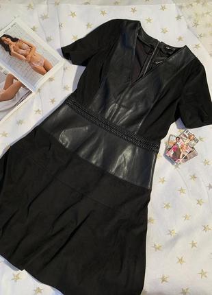 Красивое чёрное платье под кожу и замш