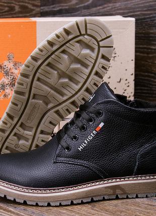 Мужские Зимние Кожаные Ботинки Tommy Hilfiger Черные