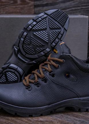Мужские Зимние Кожаные Ботинки Eссо Black Черные