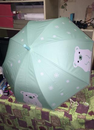 Зонт зонтик парасолька детский для девочки мальчика с мишкой с...