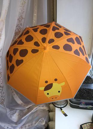 Зонт зонтик детский яркий красочный оранжевый с жирафом трость...