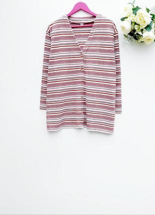 Красивый свитер в полоску большой размер свитер на пуговицах