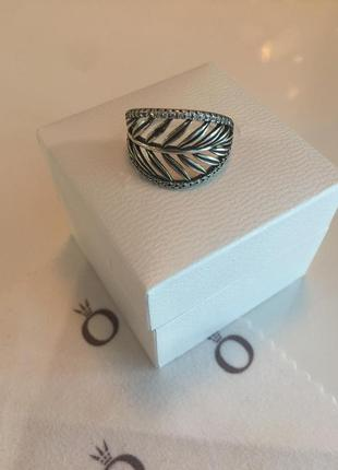 Кольцо лист пальмы пандора серебро проба 925