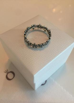 Кольцо цветы цветочки пандора серебро проба 925