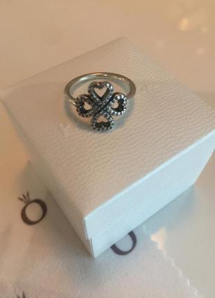 Кольцо клевер удачи пандора серебро проба 925