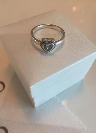 Кольцо светящиеся сердце пандора серебро проба 925