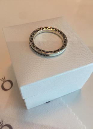 Кольцо сияние сердец пандора серебро проба 925