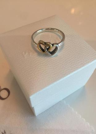 Кольцо два сердца пандора серебро проба 925 с позолотой