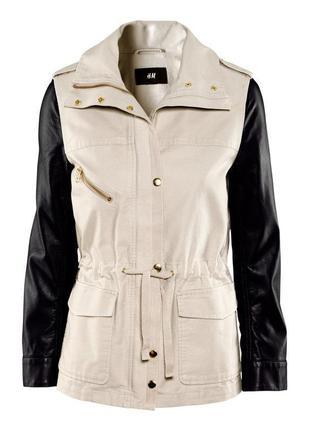 Стильная парка h&m, размер s/m (38), куртка c кожаными рукавами
