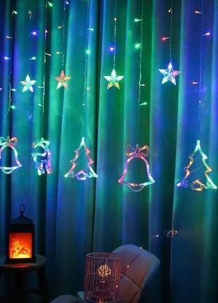 3 метровая гирлянда-штора светодиодная с разными фигурами Мультиц