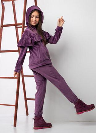 Велюровый утеплённый костюм для девочки