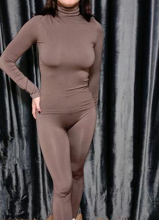 Бесшовный комплект Лосины и водолазка бесшовная водолазка костюм