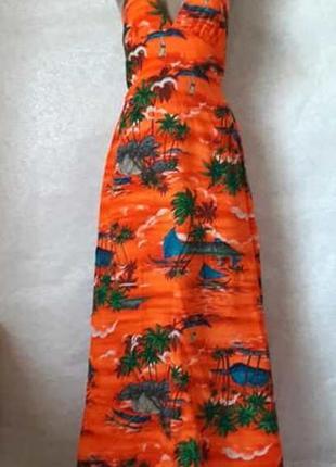 """Новое летнее натуральное платье/сарафан в пол в принте """"пальмы..."""