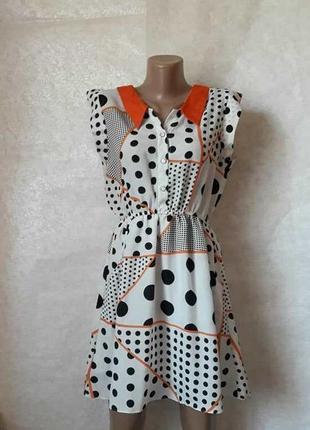 Легкое воздушное платье в чёрно-белый горох и ярким оранжевым ...