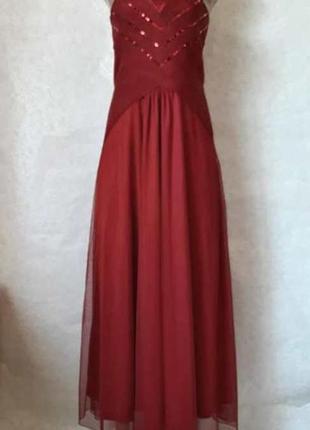 Фирменное bodyflirt платье в пол с фатином и паетками (марсал/...