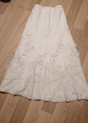 Акция 1+1=3🤑🤩хлопковая легкая,нарядная юбка клеш миди с объемными