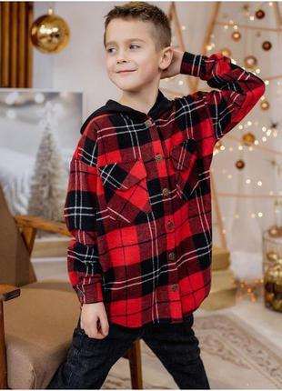 Теплая рубашка в клетку для мальчика