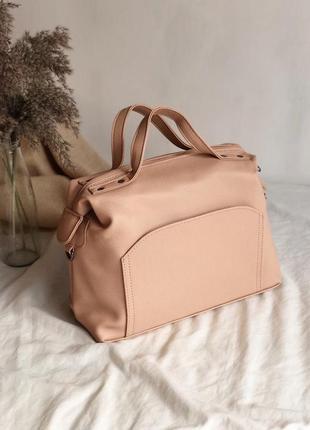 Женская сумка саквояж цвет пудра