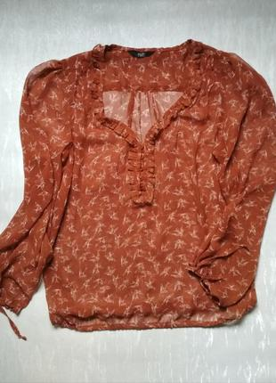 Полупрозрачная блуза с длинным рукавом f&f