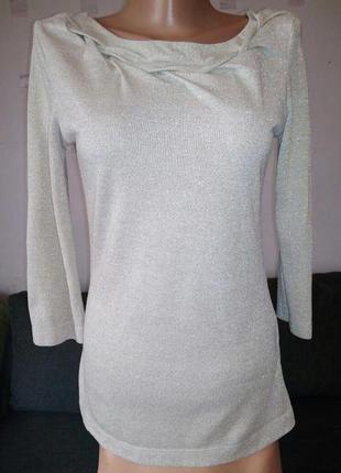 Блуза с металлизированной нитью, лонгслив с коротким рукавом