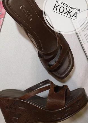 Оригинальные кожаные шлёпанцы, вьетнамки, сабо на платформе бр...