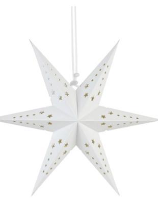 Гирлянда 3D белая звезда шестиконечная - диаметр 30см, картон