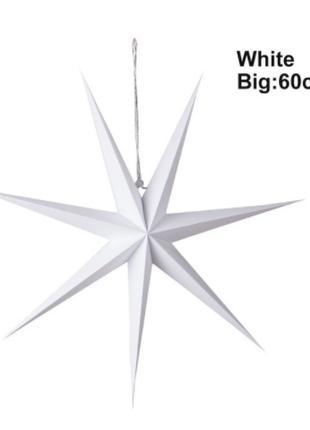 Гирлянда звезда шестиконечная белая - диаметр 60см, картон