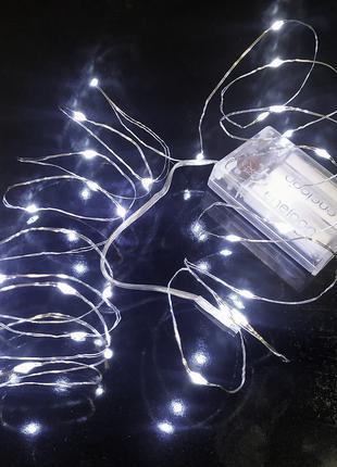Тонкая гирлянда на батарейках роса светодиодная нить теплый белый