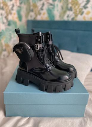 Ботинки prada boots black / ботинки прада с карманами черные