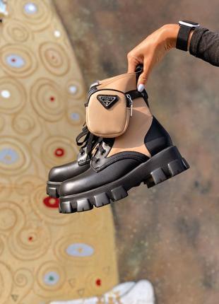 Ботинки prada boots marron / ботинки прада с карманами коричневыe
