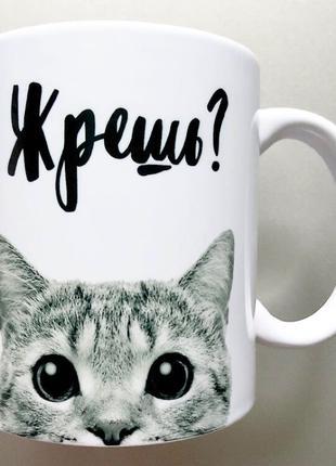 🎁подарок прикольная чашка с котом / кот