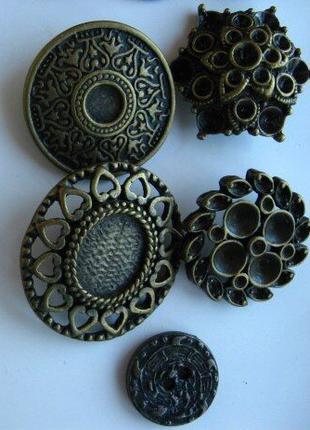 Пуговица металлическая, медного цвета, декоративная объёмная