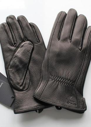 Кожаные мужские перчатки из оленьей кожи черные