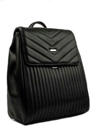 Женский черный стеганый рюкзак david jones 6158-2 оригинал