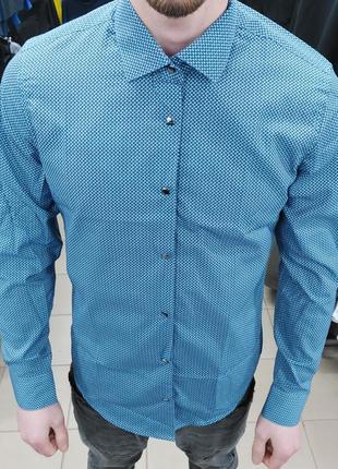 Рубашка мужская  в клетку с длинным рукавом