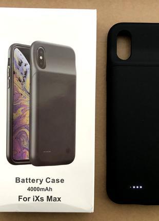 Чехол зарядка(аккумулятор) для iPhone Xs Max 4000 mAh black