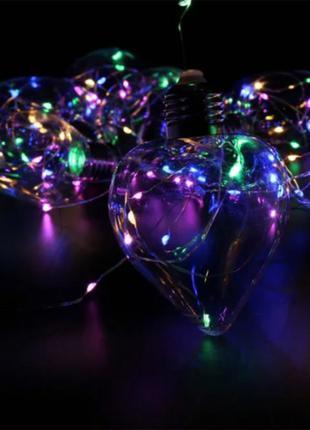 Гирлянда новогодняя Xmas Лампочки Сердце 3 х 1.5 м Мультицветная