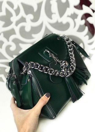 Модные женские сумки натуральная кожа в зеленом цвете зеленый ...