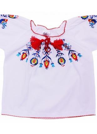 Блузка-вышиванка для девочек Белая