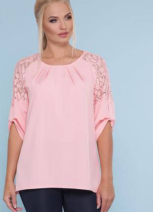 Персиковая блузка больших размеров