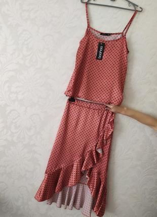 Изумительный терракотовый шелковый костюм от boohoo