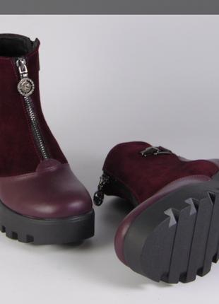 Зимние ботинки на тракторной платформе. кожа, замша. днепр....